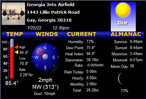 Live Georgia Jets Airfield Weather